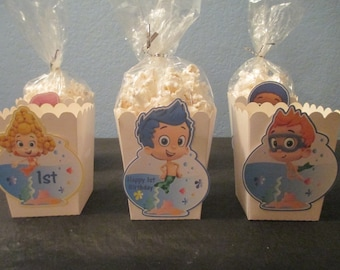 Bubble Guppies popcorn boxes(20)Bubble Guppies Birthday,Favor Bags & Containers,Treat Favor Boxes,Bubble Guppies Party,Bubble Guppies Boxes
