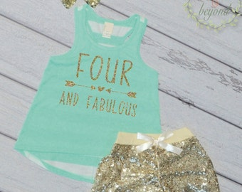 Fourth Birthday Outfit, Four and Fabulous, Girl 4th Birthday Tank Shorts Headband Set Trendy Kids Clothes Fashion Kids Clothes 182