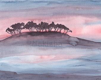 Original Watercolor Lanscape Painting - Purple Island