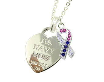 Sterling Silver Navy Mom Necklace CR (Free Shipping)