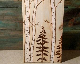Birch Tree Wood Burning
