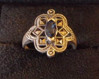 Marcasite & Marquise Rhinestone Beautifully Styled Silver Ring