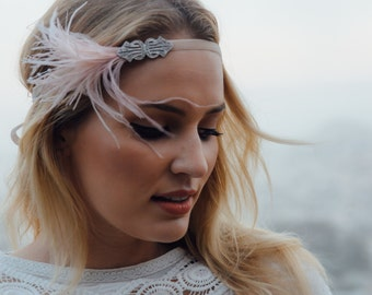 Champagne feather headpiece, blush feather headband, great gatsby fascinator, blush ostrich feathers silver Art Deco 1920s wedding bridal
