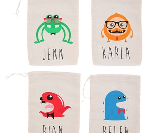 Hipster Monsters {set of 10} Personalized Party Favor Bags
