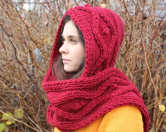 Christmas gift, Wine red chunky hooded scarf for women, Scoodie, Winter scarf, red scarf, chunky scarf, wool scarf, scarves, hood, scarf