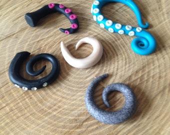 8mm 0G * Spirals elegant earrings for stretched ear. Psy. Goa. Rave. NoaGoa