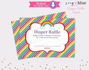 Rainbow Diaper Raffle Tickets Gender Neutral Baby Shower Games Printable Diaper Raffle Ticket DIY Printable File INSTANT DOWNLOAD