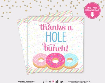 Donut Favor Tag - Doughnut Birthday Thank You Tag - Pink Blue Thanks a Hole Bunch Brunch Favor - Baby Shower - Instant Download Digital File