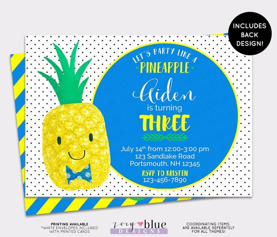 Pineapple birthday invitation hawaiian luau boy first birthday il570xn stopboris Image collections