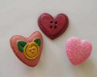 3 Heart Buttons Love Sweet Valentine