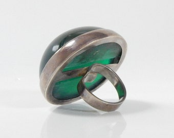 ONE OFF - Huge polished bottle green resin and sterling silver ring