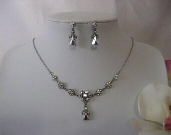 Necklace Earring Set Silver tone Crystal RHinestone Beaded Victorian Style Elegant Bridal Bridesmaid Prom