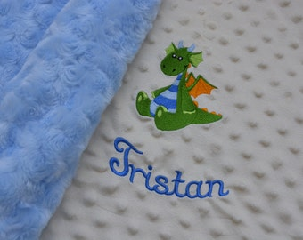 Personalized Minky Baby Blanket With Embroidered Baby Dragon... Custom Embroidered Baby Boy Blanket