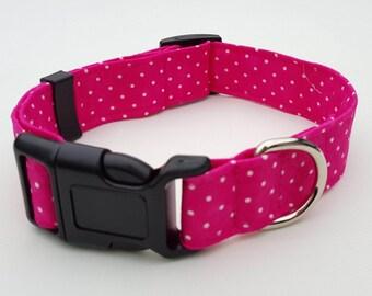 Dog Collar - Bright Pink Spotty Fabric