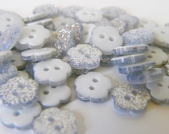 10 x 10mm Glitter Flower Button - Silver