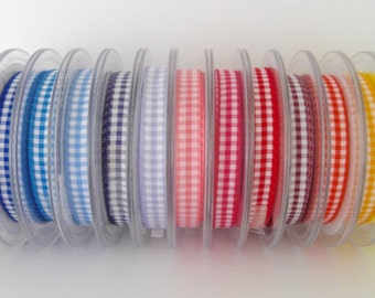 10mm Gingham Ribbon - 13 colours to choose from