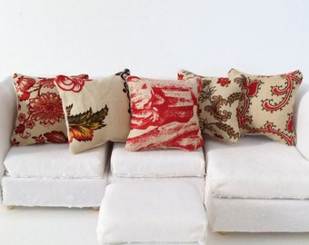 Country Dollhouse Pillows, 5 Piece Tan & Red Pillow Set 1:12 Pillow Set, Rustic Fashion Doll Pillow, Fashion Doll Miniature Pillows