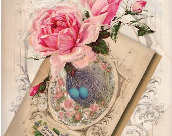 Robin Egg Easter Card Printable Victorian Framed Bird's Nest Pink Rose 4X6 Inch Folding Greeting Card Vintage Aged Paper Happy Easter