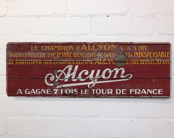 Vintage Cycling Red Alcyon Tour de France Wall Door Sign