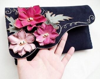 Pink flowers clutch purse Navi blue leather clutch Navy and pink bag Unique leather clutch Evening purse Bridesmaid clutch bag Designer bag