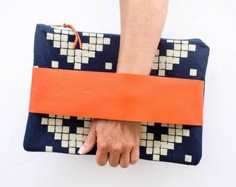 Macbook sleeve, Clutch, navy blue clutch, coral leather clutch, pretty macbook sleeve, southwest bag