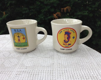 Boy Scouts Camp Little Turtle ceramic coffee cup camp leader tan 1980's