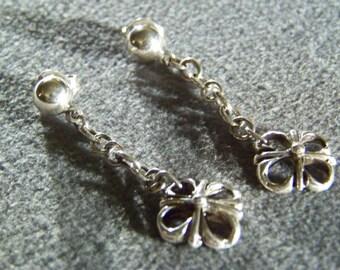 Vintage Sterling Silver bold scrolled dangle Pierced Dangle Earrings **RL