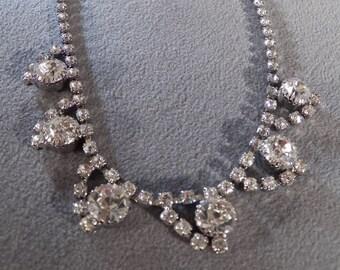 Vintage Silver Tone Ultra Chic Brilliant Rhinestone Necklace, Art Deco Style So Couture!~~ **RL
