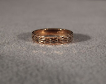 Vintage Sterling Silver Gold Overlay Italian Fancy Etched Eternity Wedding Band Ring 9 **RL