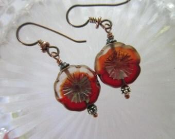 Pretty Unique Crystal Red Flower Earrings Czech Glass Picasso Earrings Subtle New Matte Pansy Earrings Niobium Hypoallergenic French Hooks