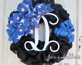 Thin Blue Line Burlap Wreath, ACU, Law Enforcement, Police Life, Blue Thin Line Decor, ACU Appreciation