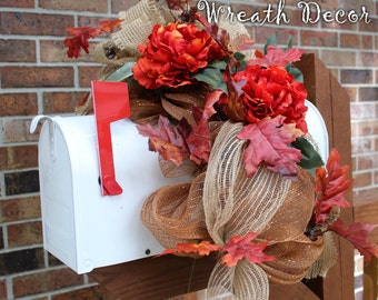 Fall Mailbox Swag Topper, Autumn Mailbox Swag, Peonies, Burnt Orange, Copper, Fall Leaves