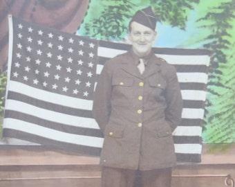 Hand Tinted Patriotic World War II Era 1940's American US Army Soldier GI Studio Photo - Free Shipping