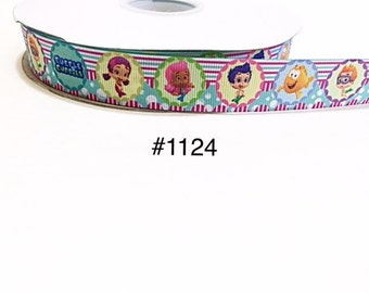 "3 or 5 yard - 7/8"" Bubble Guppies and Friends Striped Grosgrain Ribbon Hair bow"