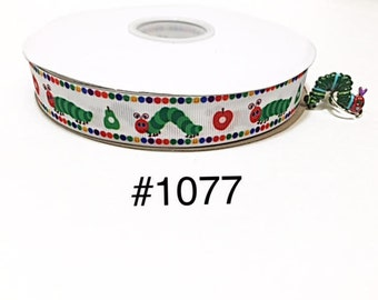 """3 or 5 yard - 7/8"""" Hungry Caterpillar and Red Apple on White Grosgrain Ribbon Hair bow"""