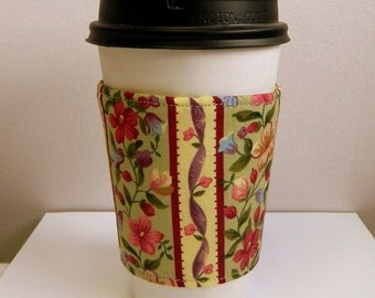 Coffee Cup Sleeve Cozy Take Out Cup Cozy Fabric Coffee Cup Sleeve Hand Made