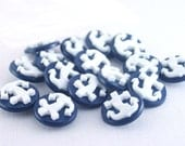 Navy Anchor Buttons (shank) - Choose color (navy, black, red)