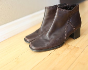 vintage  brown leather oxfords ankle boots womens  7 1/2 *