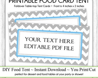 Table-top Tent Cards, Gray Chevron and Blue Food Tents, Table-top, foldover, You Print, DIY, Editable File - INSTANT DOWNLOAD