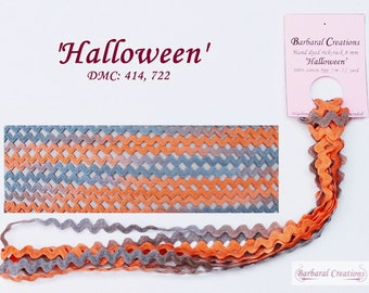 Hand dyed 8 mm wide cotton rick-rack trim, zig-zag - 'Halloween'