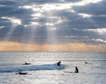 Miami Beach Sunrise Surfers, Miami Photography, Surf photography, Miami Print, Surf Print, Miami Art, Surf Art, Beach Print