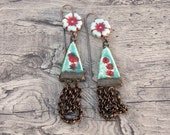 Boho ceramic Czech glass chain earring Scorched Earth- Winter Bird Studio