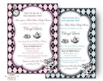 Mad Hatter Baby Shower Invitation - Printable Mad Hatter Baby Shower Invites - Mad Hatter Invitation - Alice's Adventures in Wonderland