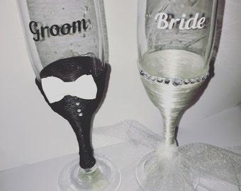 Bride and Groom Wedding Toasting glasses
