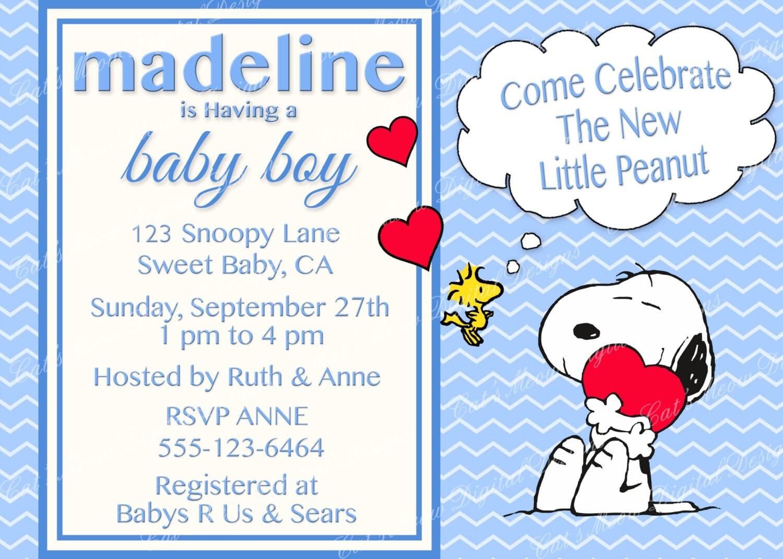 snoopy baby shower | etsy, Baby shower invitations