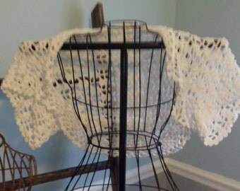 White crocheted shrug