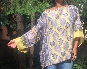 Silk Blouse,Plus Size Blouse,Oversized Blouse,Natural Silk Top, Loose Blouse,Elegant Top