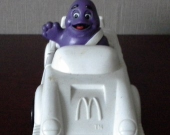 grimace in white speedster mcdonalds happy meal toy