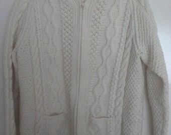 Zip up aran cardigan hand knitted