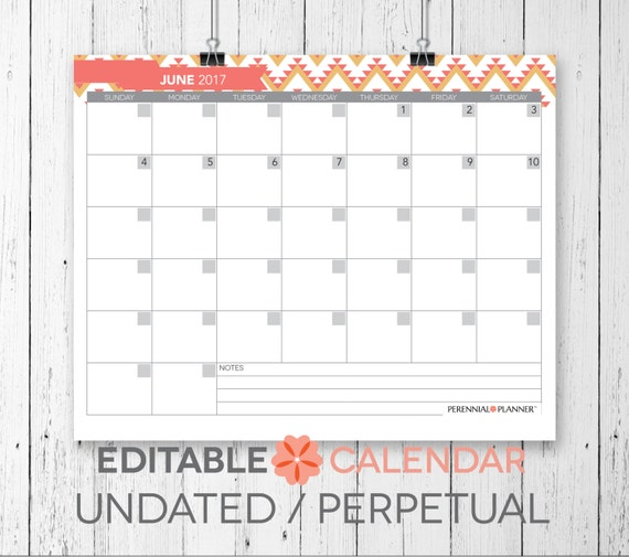 items similar to blank perpetual calendar printable